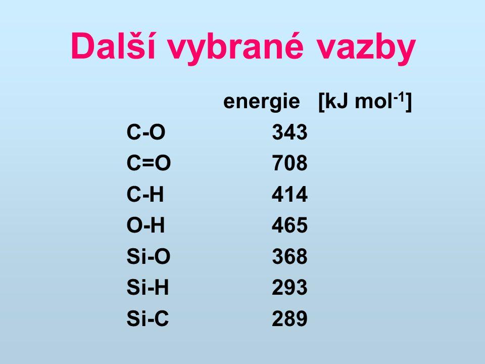 Další vybrané vazby energie [kJ mol-1] C-O 343 C=O 708 C-H 414 O-H 465